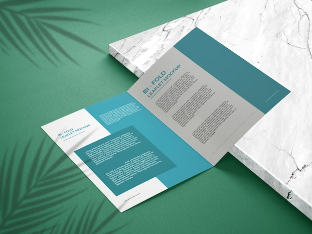 Close-up op tweevoudige mockup-brochure