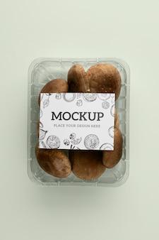 Close-up op veganistisch verpakkingsmodel