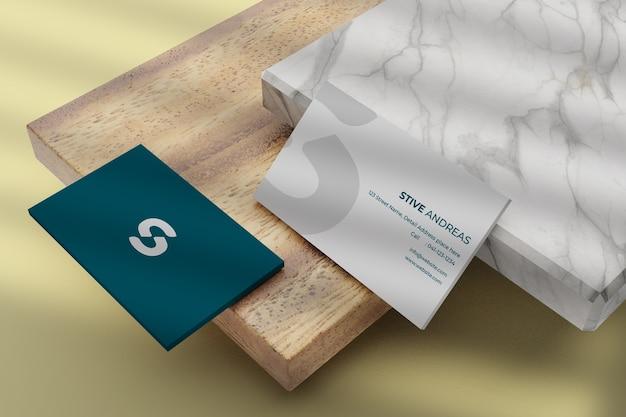 Close-up op visitekaartje mockup met afgeronde hoeken