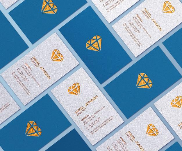 Close-up op visitekaartjes logo mockup