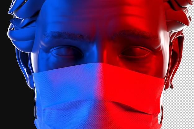 Close-up retrato de hombre vestido con mascarilla protectora desechable