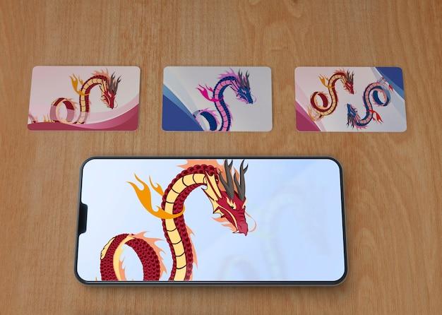 Close-up telefoon en blad artisic tekenen