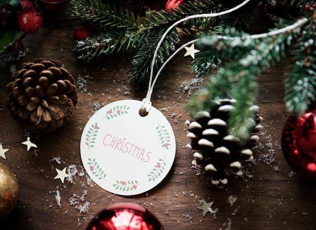 Close-up van kerstmis die kaartmarkering wensen