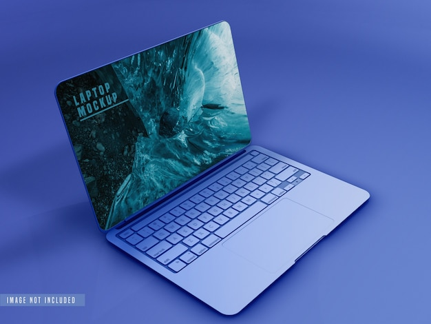 Close-up van laptop mockup design