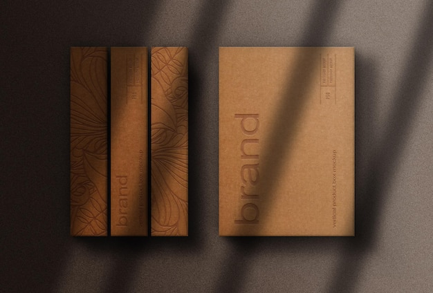 Close-up van papieren doos in reliëf gemaakt mockup