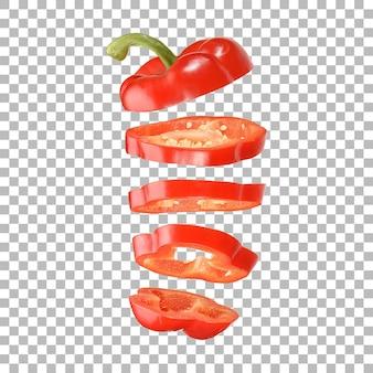 Close-up weergave gesneden rode paprika