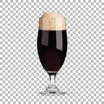 Close-up weergave koud zwart bier op glas geïsoleerd