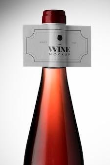Close-up wijnfles etiket mock up