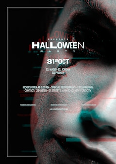 Close-upvrouw met halloween-samenstelling en glitch effect