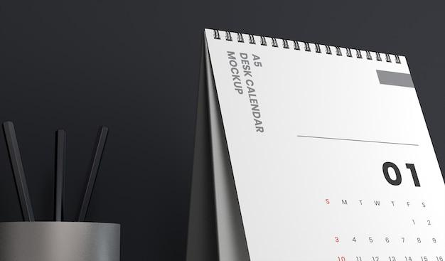 Closeup realistische verticale bureaukalender mockups ontwerp