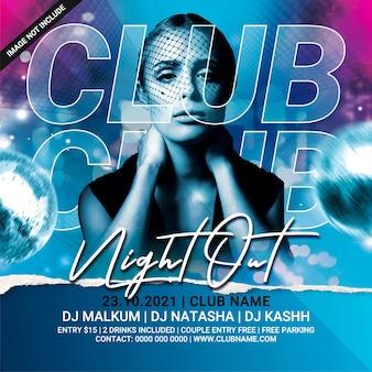 Club avondje uit dj feest flyer sjabloon