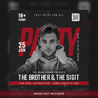 Club dj party flyer social media post en bannersjabloon