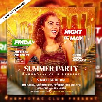 Club dj party flyer social media post en web-sjabloon voor spandoek