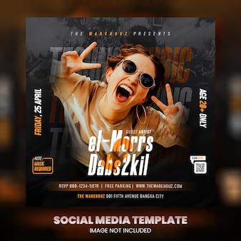 Club dj party flyer social media post en webbanner premium psd premium psd
