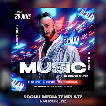 Club dj party flyer social media post en webbanner premium psd
