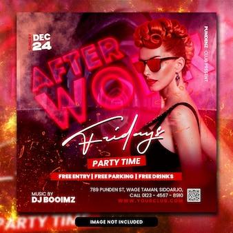 Club dj party flyer social media post en webbanner psd