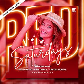 Club dj party flyer social media post en webbanner
