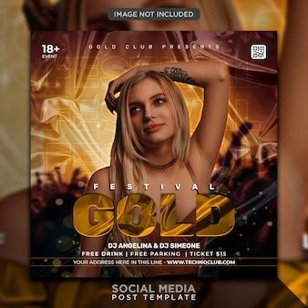 Club dj party flyer social media post en webbannersjabloon