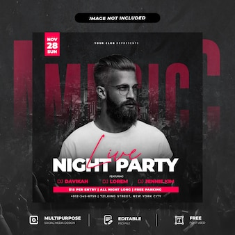 Club dj party social media postsjabloon