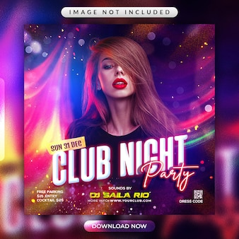 Club night party flyer of social media banner template