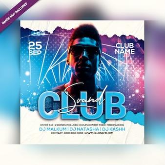 Club sonidos flyer de fiesta