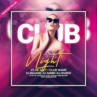 Clubnachtfeest flyer sjabloon