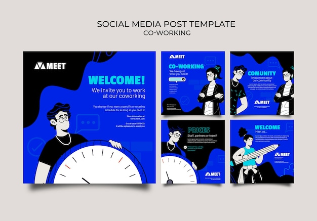 Co-working posts op sociale media Gratis Psd