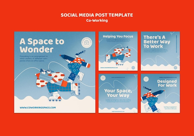 Co-working posts op sociale media