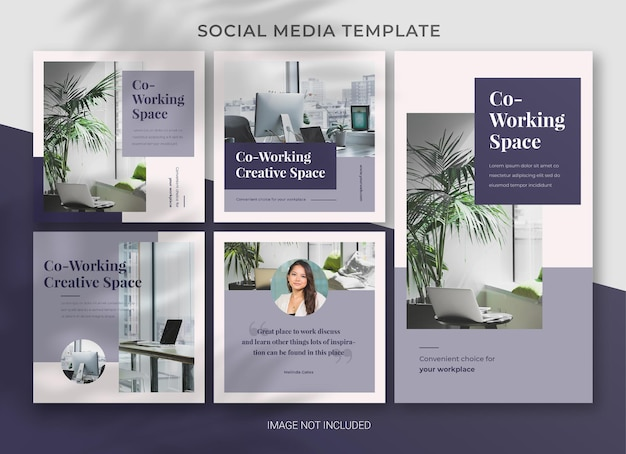 Co-working space social media business pack bundelsjabloon premium psd