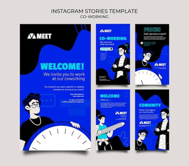 Co-working verhalen op sociale media Premium Psd