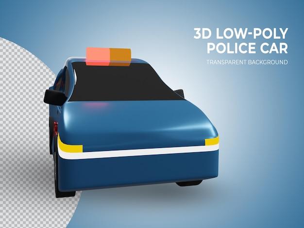 Coche de policía azul de baja poli renderizado 3d