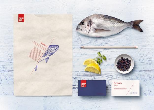 Cocina japonesa papelería elementos de identidad del negocio marca maqueta