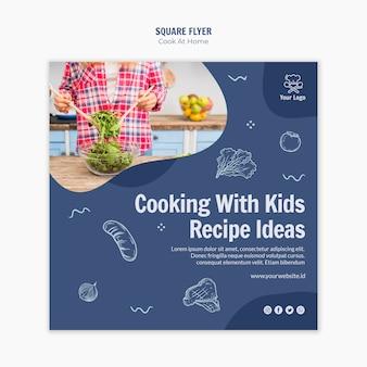Cocinando en casa estilo flyer cuadrado