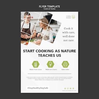 Cocinar en casa diseño de flyer