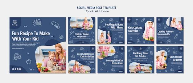 Cocinar en casa publicación en redes sociales