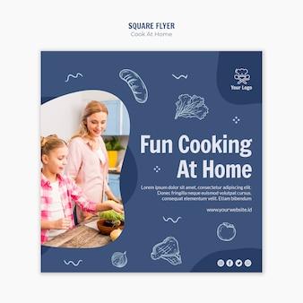 Cocinar en casa volante cuadrado