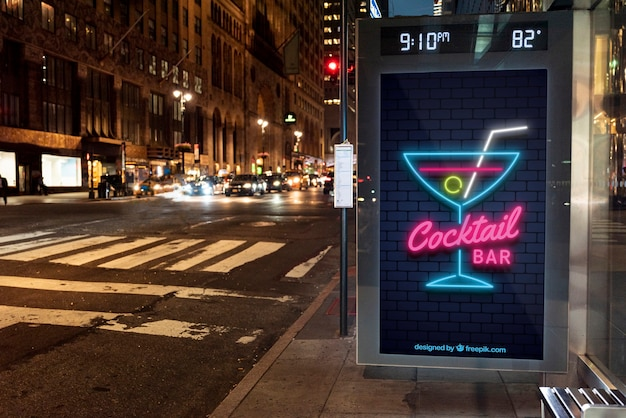 Cocktail bar mock-up in neon