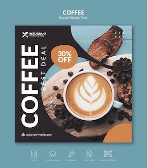 Coffee cafe square banner instagram post redes sociales