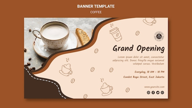 Coffeeshop advertentie sjabloon banner