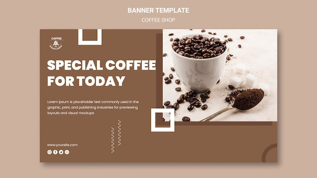 Coffeeshop banner sjabloon thema