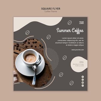 Coffeeshop concept vierkante flyer sjabloon
