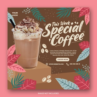 Coffeeshop drankje menu promotie sociale media instagram post-sjabloon voor spandoek