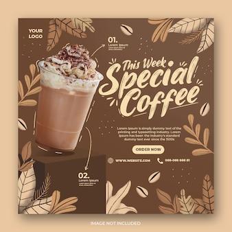 Coffeeshop drankje menu promotie sociale media instagram post sjabloon voor spandoek