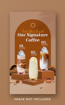 Coffeeshop drankje menu promotie sociale media instagram verhaalsjabloon voor spandoek Premium Psd