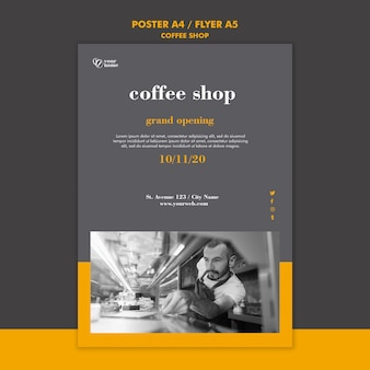 Coffeeshop flyer sjabloon thema