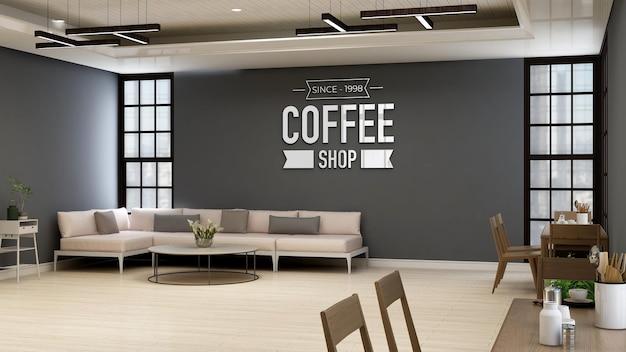 Coffeeshop of café-muurlogomodel voor branding in moderne caféruimte met bank