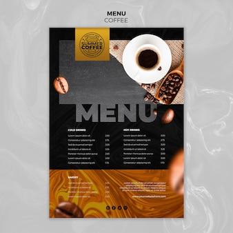 Coffeeshop sjabloon menu