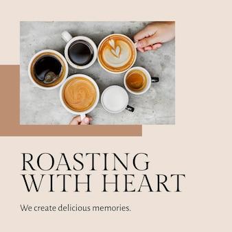 Coffeeshop-sjabloon psd voor het roosteren van berichten op sociale media met hart