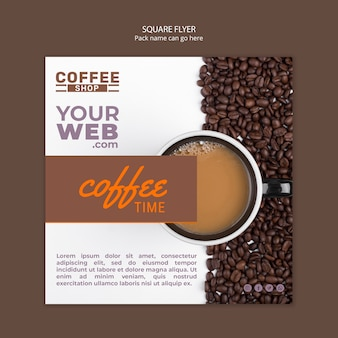 Coffeeshop vierkante sjabloon folder
