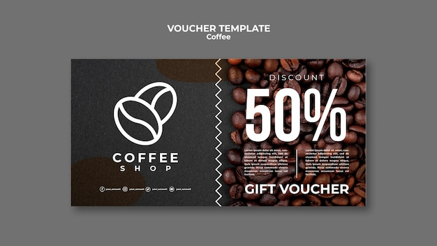 Coffeeshop voucher sjabloon